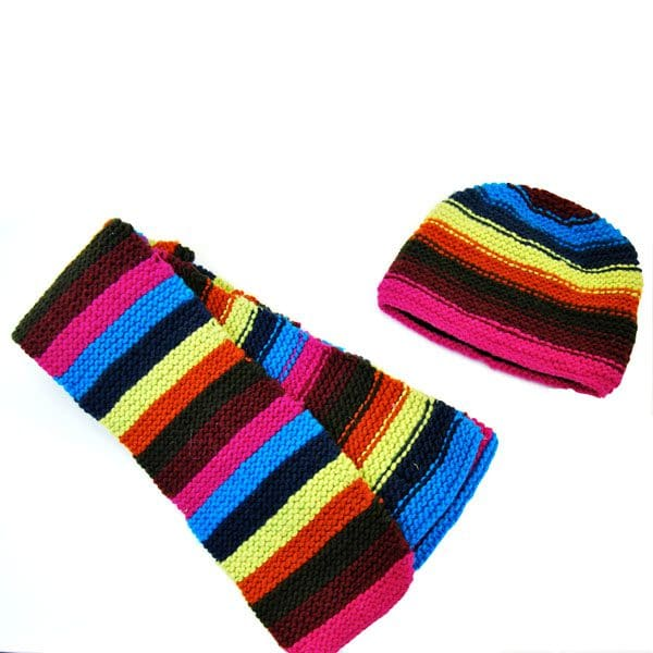 Boucle Striped Scarf & Hat Set (Set of 5)