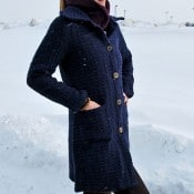 Long Blue Woven Coat - Small