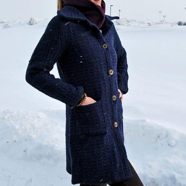Long Blue Woven Coat - Small