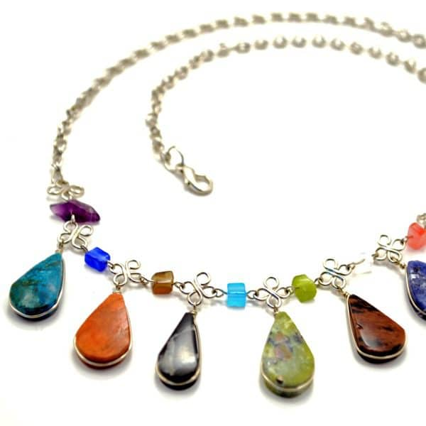 Multi Teardrop Stone Necklace