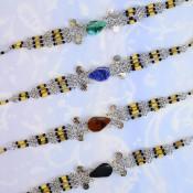 Bamboo Style Stone Bracelet