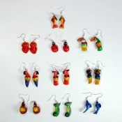 Painted Balsa Animal Earrings