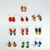 Painted Balsa Animal Earrings