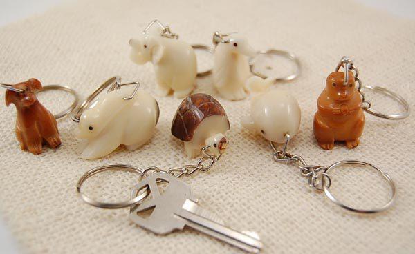 Tagua Carved Animal Keychain