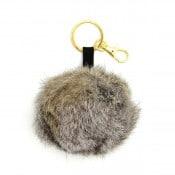 Rabbit Fur Pom Pom Keychain