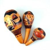 Carved Gourd Maracas - S NOW 44834