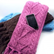 Adult Cable Knit Pocket Scarf