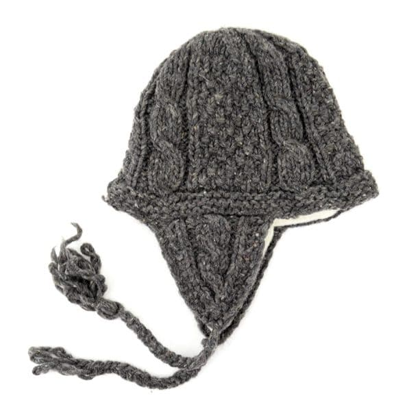 Adult Cable Knit Earflap Hat