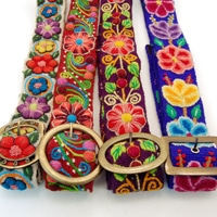 Embroidered Belt with Buckle