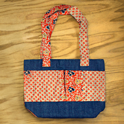 Denim and Kantha Tote - S