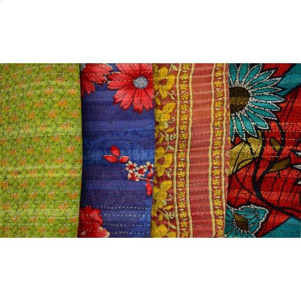 Denim/Kantha Messenger Bag