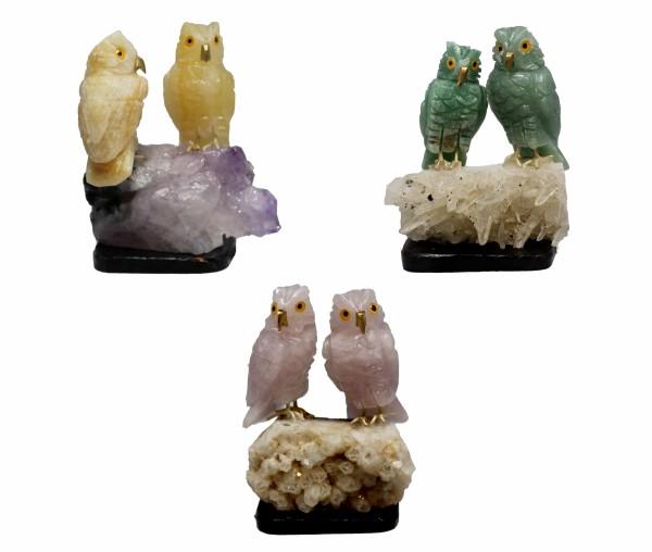 Semi-Precious Stone Owl Pair