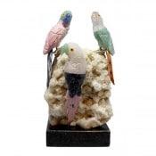 Semi-Precious Stone Parrot Trio