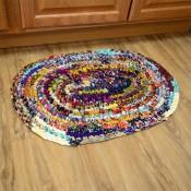 Oval Cotton Sari Rug